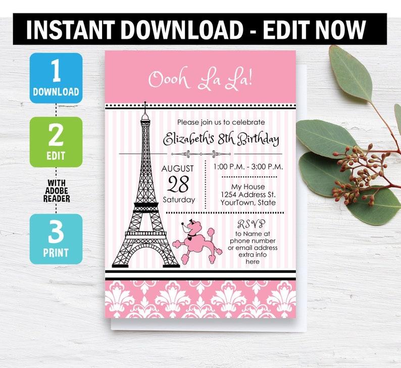 Paris Invitation, Eiffel tower Birthday Invitation, Paris theme Party,  poodle, eiffel tower, Instant Download, Editable, Printable, template