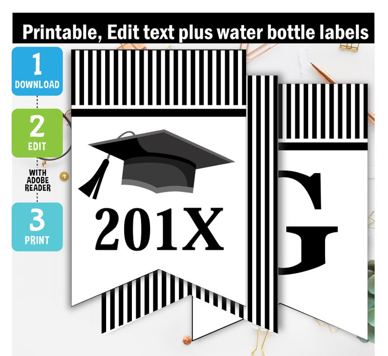photograph about Printable Graduation Decorations named Commencement Banner Printable, commencement bash, black banner, commencement decorations, Printable, Editable, reward drinking water bottle labels