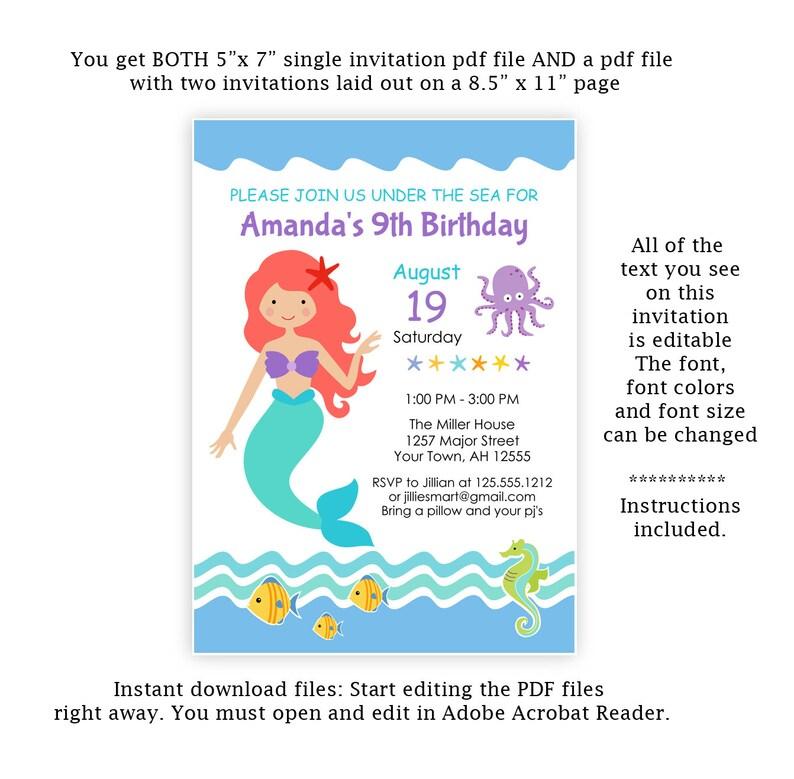 Mermaid Invitation, under the sea Party Invite, Mermaid Birthday, Mermaid  Invitation, Printable, Editable, Instant Download