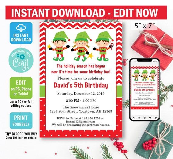 Elf Birthday Invitation, digital, Corjl EDIT, christmas birthday  invitation, holiday party, elf birthday party