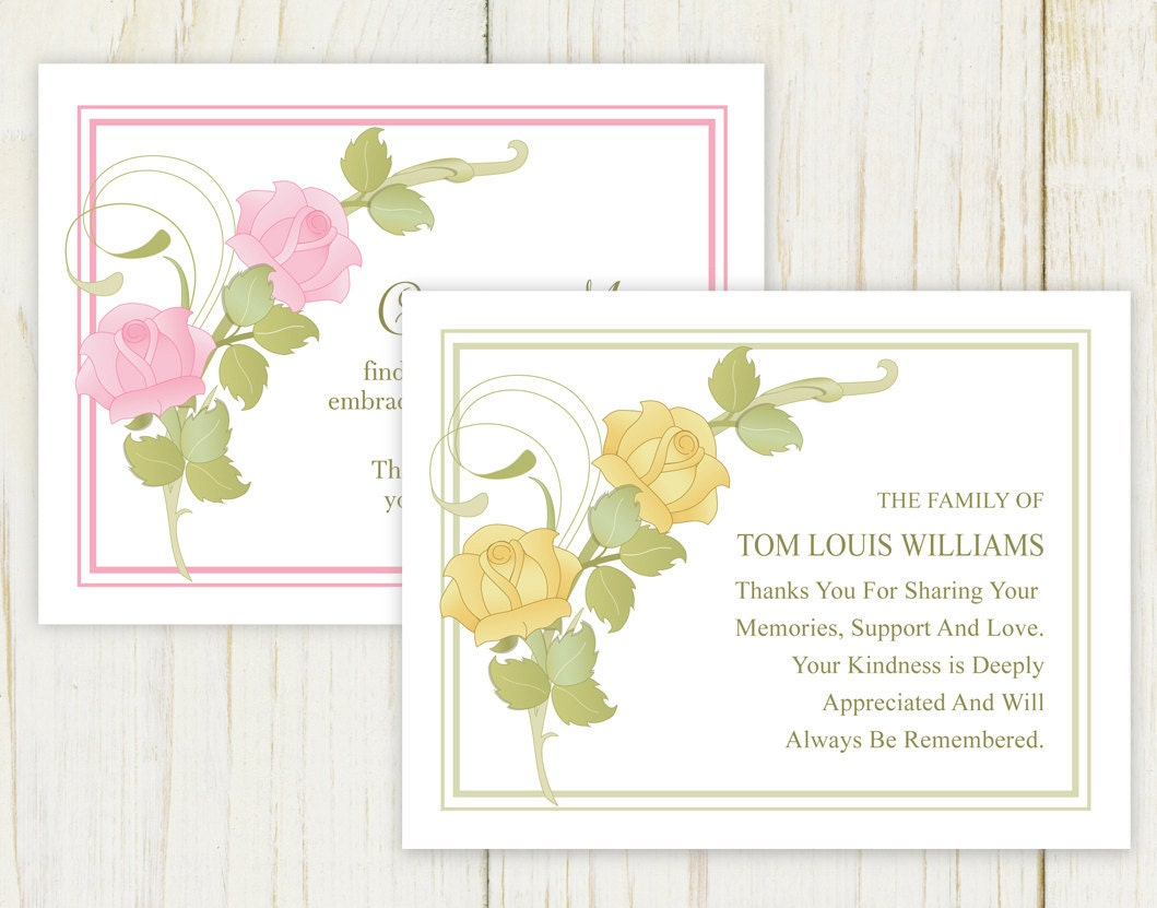 Rose Funeral Thank You Card Pink Or Yellow Digital Etsy