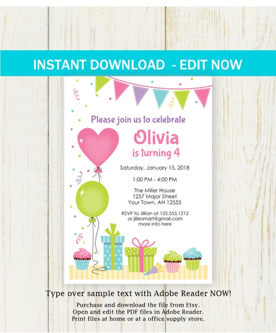 birthday invitation edit now balloons party invitation instant etsy
