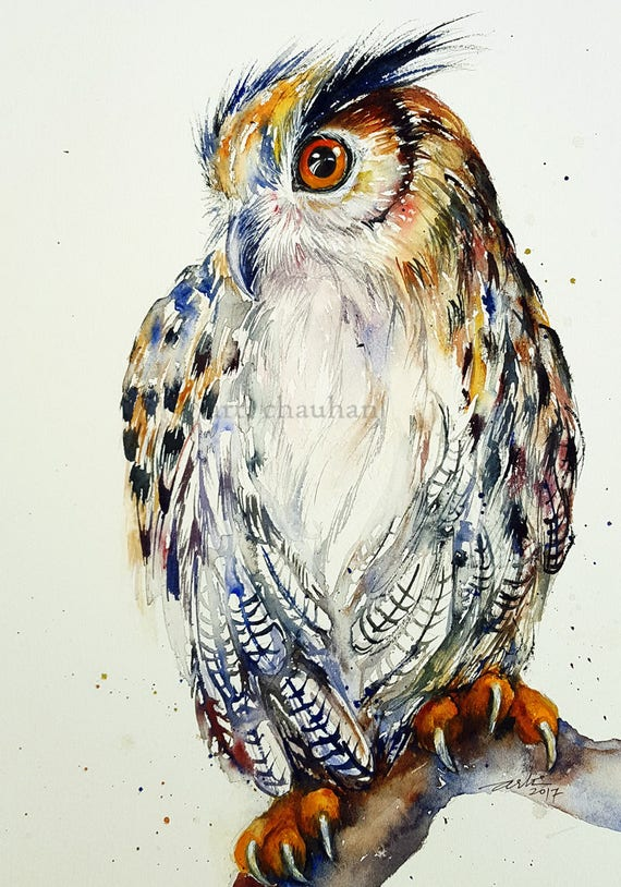 Great Horned Owl Original Watercolor Painting Wall Art Bird Art