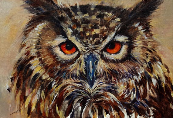 Owl portrait Original Acrylic Painting Wall decor
