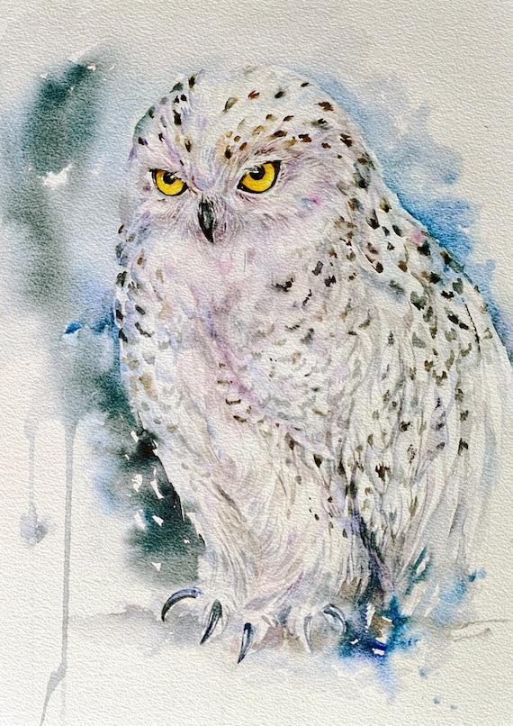 Snow Owl Original Watercolor Painting Wall Art