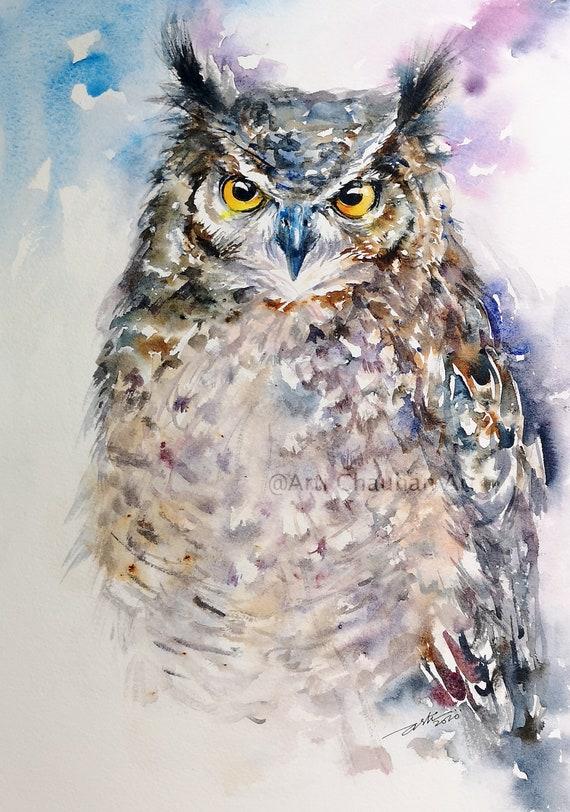 Eagle Owl Original Watercolor Painting Wall Art