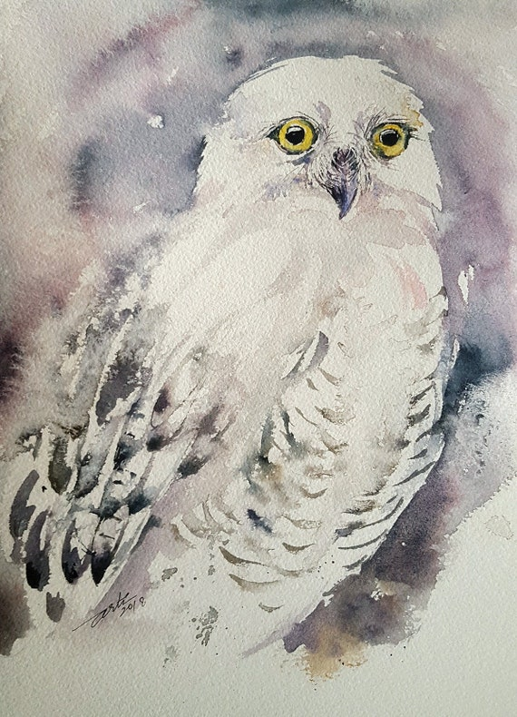 White Owl Original Watercolor Painting Wall Art