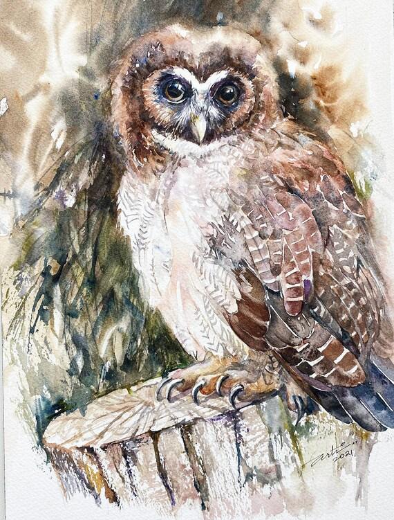 Brown Wood Owl Original Watercolour Painting Wall Art Wildlife Art