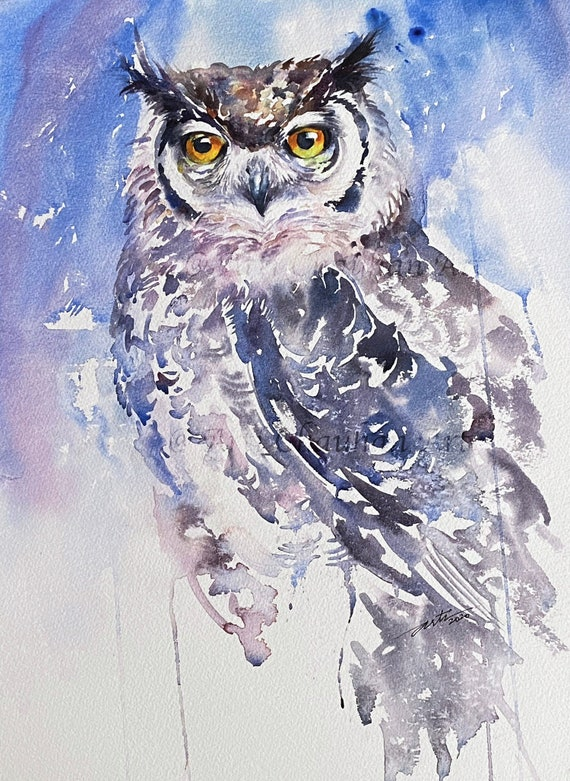 Eagle Owl Original Watercolor Painting Wall Art Owl Painting