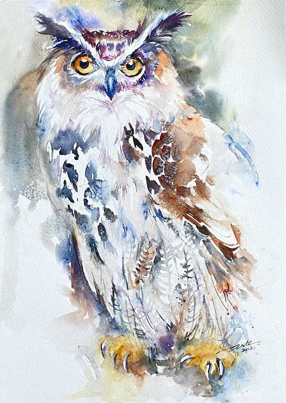 Great horned Owl Original Watercolour Painting Wall Art Wildlife Art