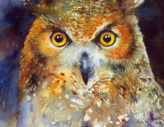 Owl Painting Original Watercolor Painting Bird Art Wall Decor