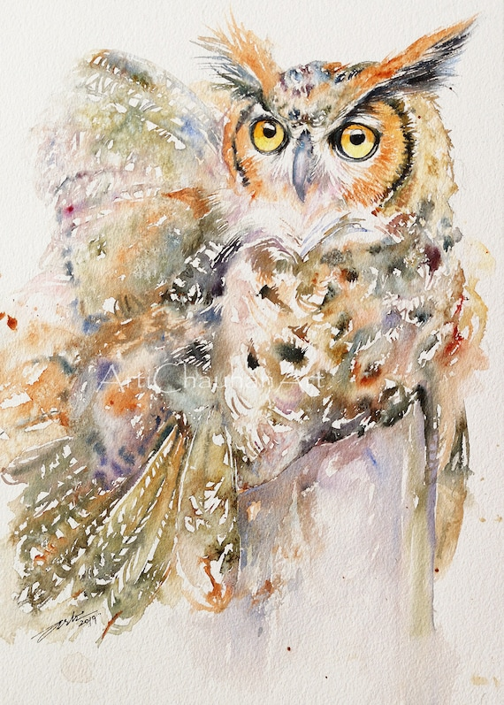 Great Horned Owl Original Watercolor Painting Wall Art