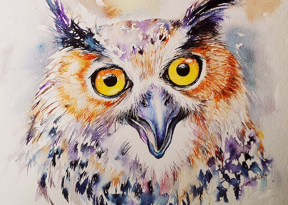 Eagle Owl Original Watercolor Painting Wall Art Owl Pinting