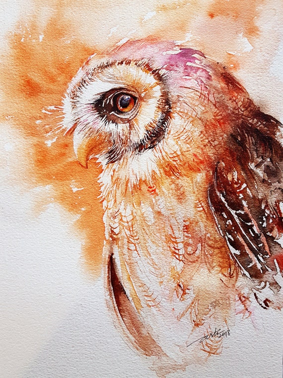 Eage Owl Original Watercolor Painting Wall Art Bird Art