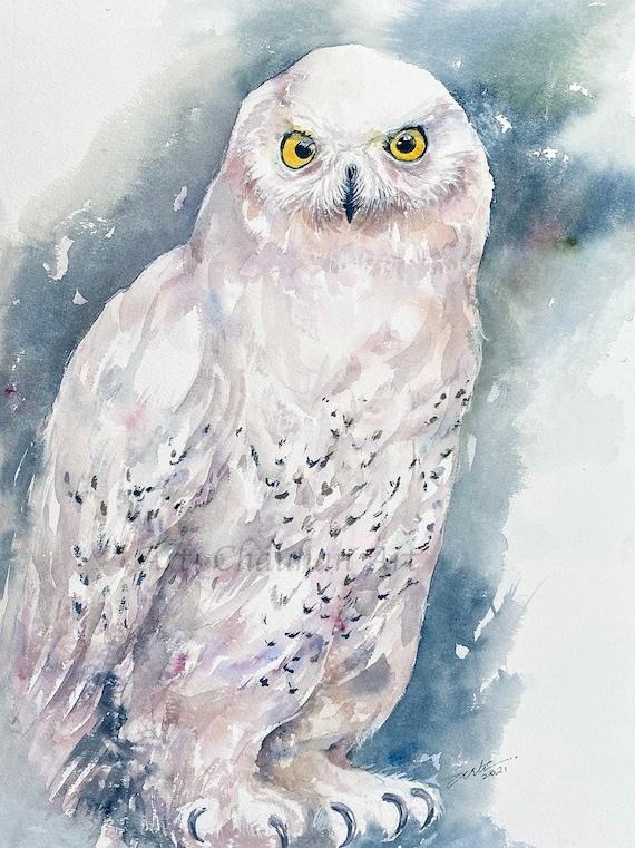 Snowy Owl Original Watercolour Painting Wall Art Wildlife Art