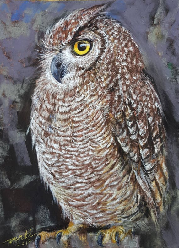 Owl Painting Original Drawing Bird art Pastel Drawing Wall Decor Animal art