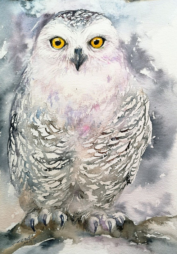 Snow Owl Original Watercolor Painting Wall Art