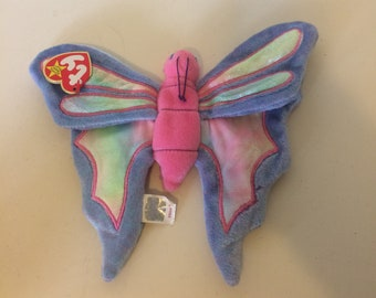 267b13f905d 1999 Ty Beanie Baby Flitter Pink and Purple Butterfly