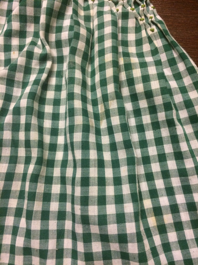 Vintage Green and White Gingham Apron
