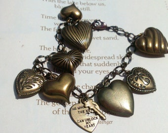 Vintage Re-purposed Heart Charm Bracelet Valentine