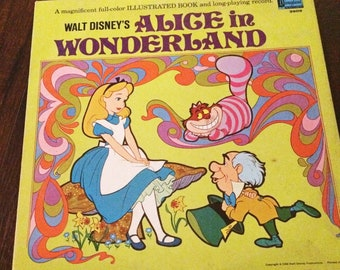 Walt Disney's Alice and Wonderland Vintage Vinyl Record Album and Storybook
