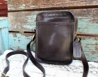 9cf0861d3d Vintage Coach Purse Chocolate Brown Leather Satchel Bag Cross Body Strap  Brass Hardware Latch Crossbody Over The Shoulder Designer Handbag