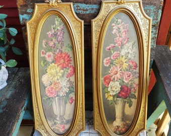 528e7d8bb4 Vintage Hollywood Regency Pictures Rococo Wall Plaques Vase with Flowers  Floral Print Ornate Baroque Large Frames Antique Set Mid Century