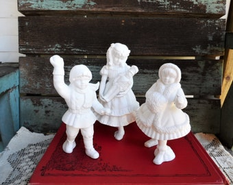 Vintage Dept 56 Winter Silhouette Porcelain Clara and the Nutcracker Boy with snowball Girl Playing Department 56 White Figurines Village