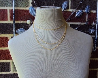 Vintage Emmons Choker Layered Multi Triple Chain Necklace Delicate Gold faceted crystal beads