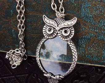 Magnifying necklace etsy vintage style owl magnifying glass pendant necklace victorian style ornate metal reading magnifier antique silver long chain aloadofball Gallery