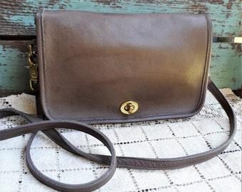 e57aa5aecae4 Vintage Coach Purse Neutral Dark Taupe Leather Saddle Bag Cross Body Strap  Brass Hardware Latch Crossbody Over The Shoulder Designer Handbag