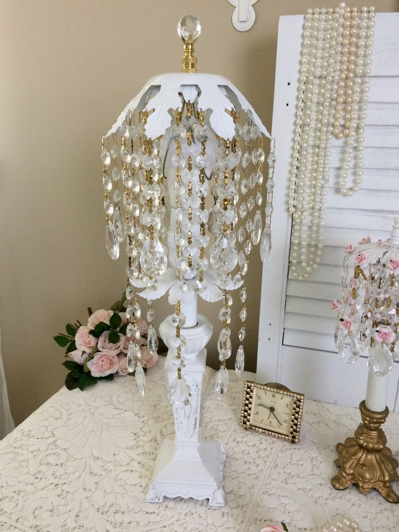 Ornate White Table LAMP and CRYSTAL Waterfall SHADE Elegant Glass Prisms Shabby Cottage Chic Vanity Dresser Wedding Light