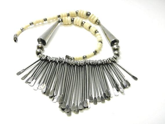 Spoon bib necklace, vintage silver bib necklace, t