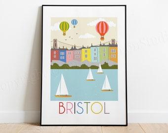 Bristol Print, Gifts from Bristol, Bristol Landmarks, Graduation Gifts, England Travel Poster, City Art, Wedding Gifts, Anniversary Gift