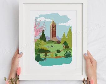 Cabot Tower, Bristol Art Print, Bristol Gift Ideas, Bristol Illustration, Clifton, City Print, British Decor, Wall Art, City Gift