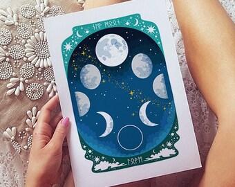 New Moon, Moon Phase, Mystical Art, Moon Prints, Astronomy Gifts, Moon Decor, Space Art, Bedroom Wall Art, Lunar Phase, Celestial, Bohemian