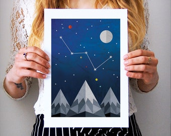 Cassiopeia, Constellation Print, Cassiopeia Art, Astronomy Print, Star Map Print, Night Sky Print, Astronomy Gifts, Celestial Art Print