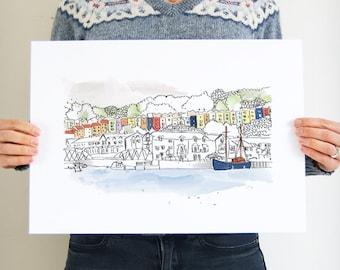 Bristol Art Print, Bristol Illustration, Hotwells, Clifton Wood, Bristol Gift Ideas, Hand Drawn, Colourful Houses, City Print, Decor, A4, A3