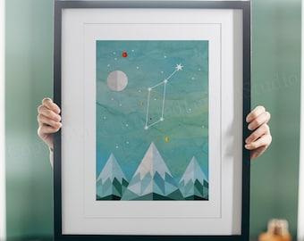 Lyra, Constellation, Lyra Art, Constellation Print, Astronomy Gifts, Night Sky, Name Gifts, Celestial Art, Lyra Baby, New Baby Gifts
