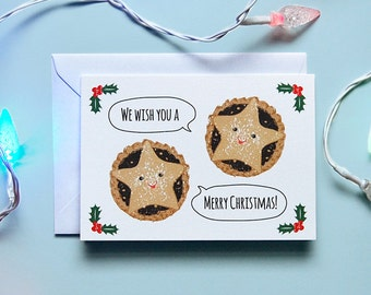 Festive Mince Pies hand drawn Christmas card // Retro // Vintage // Greetings // Christmas // Card // Illustrated // Cute // Blank