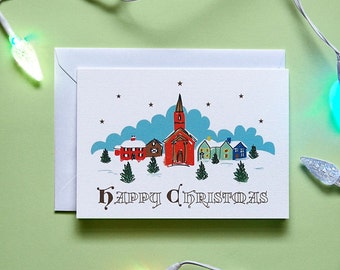 Happy Christmas Village hand drawn Christmas card // Retro // Vintage // Greetings // Christmas // Card // Illustrated // Festive // Blank