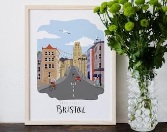Bristol Art Print, Bristol Illustration, Bristol Gift Ideas, Park Street, City Print, Home Decor, Wall Art, British Decor, Artwork, A4, A3