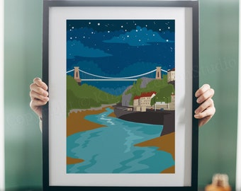 Bristol Print, Clifton Suspension Bridge, Avon Gorge In Bristol, Bristol Art, Illustration, Starry Night, Nighttime Art, Bristol Gifts