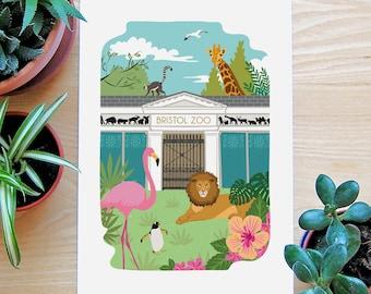 Animal Prints, Zoo Animals, Bristol Print, Animal Art, Nature Prints,  Bristol Zoo, Jungle, Flamingo Gifts, Nursery Prints, Animal Lover