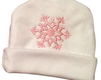 Preemie and Newborn Girl's Snowflake Hat