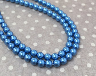 Persian Blue 4mm Round Czech Glass Pearl Polished Beads x 25