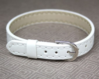free shipping in UK - Pack of 5 White Adjustable Leatheroid Bracelet Watch straps