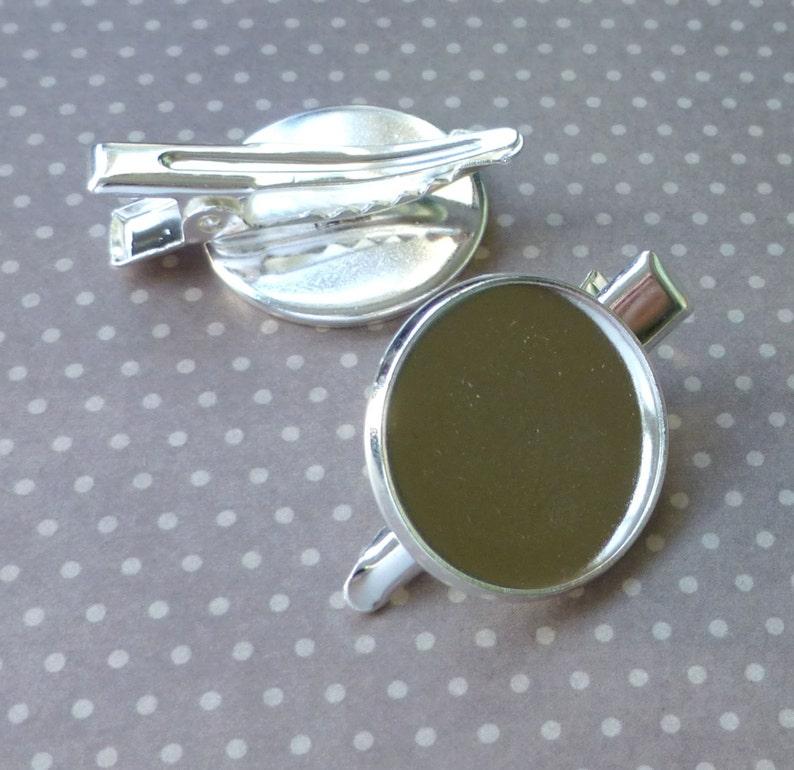 Silver tone Hair Clip with Cabochon Base 4 pcs