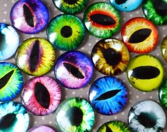 20 pcs Glass Domed Round eye cabochon, eyes cabochons, mix pattern, size 18mm