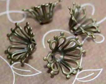 Floral antique bronze bead cap pack of 20 pcs